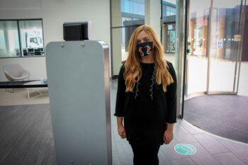 Body temperature camera, temperature testing machine to detect a high fever, mask covering or average body temperature